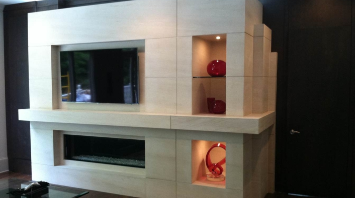 Custom Fireplace Feature With Niche